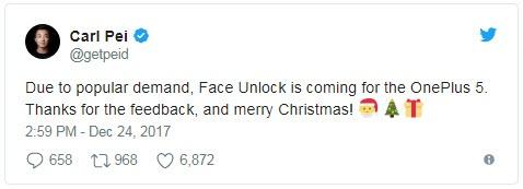 Смартфон OnePlus 5 получил Android 8.0 Oreo, а Face Unlock ожидается позже