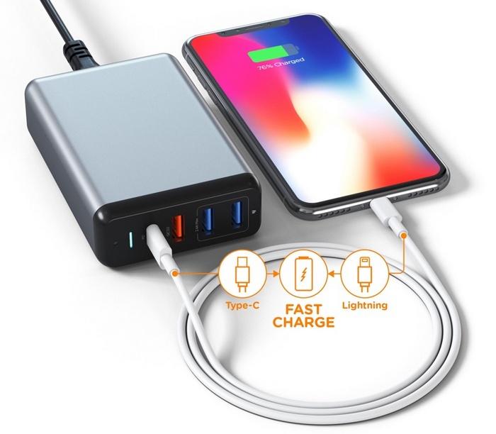 Зарядное устройство Satechi 75W USB-C Multiport Travel Charger стоимостью $65 подойдет для всех ваших гаджетов