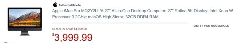Apple iMac Pro уже можно купить за 4000 долларов