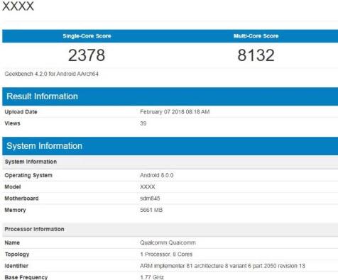 Неизвестный смартфон с SoC Snapdragon 845 замечен в Geekbench