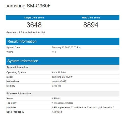 Samsung Galaxy S9 с SoC Exynos 9810 существенно опередил Galaxy S9+ с SoC Snapdragon 845 в тесте Geekbench