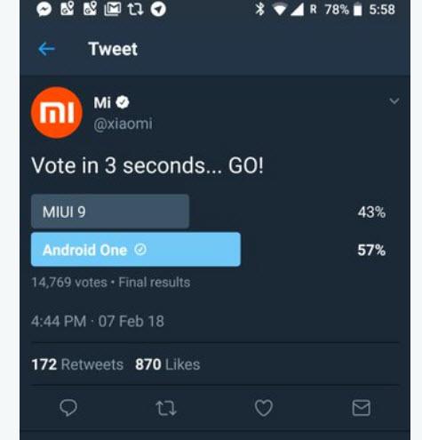 Xiaomi удалила страничку голосования, в котором MIUI проиграла Android One