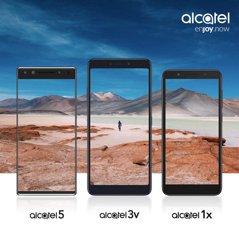 Смартфоны Alcatel 5, Alcatel 3v и Alcatel 1x будут представлены 24 февраля, опубликованы официальные изображения
