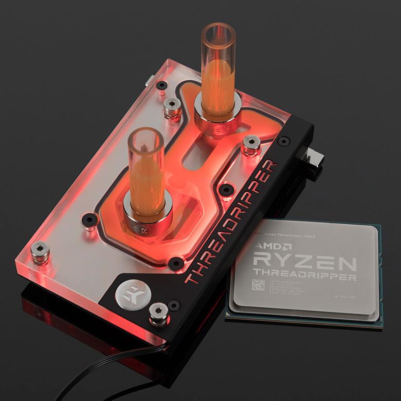Водоблок EK-FB GA X399 Gaming RGB Monoblock отводит тепло от процессора и регуляторов напряжения