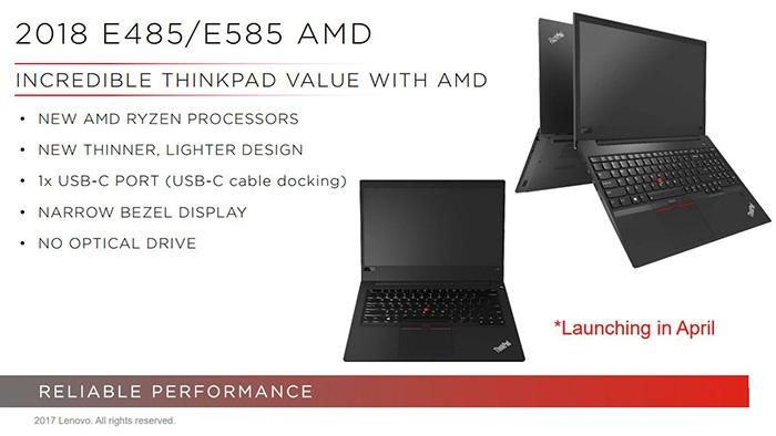 Lenovo готовит ноутбуки ThinkPad E485 и ThinkPad E585 на базе APU AMD Ryzen - 1
