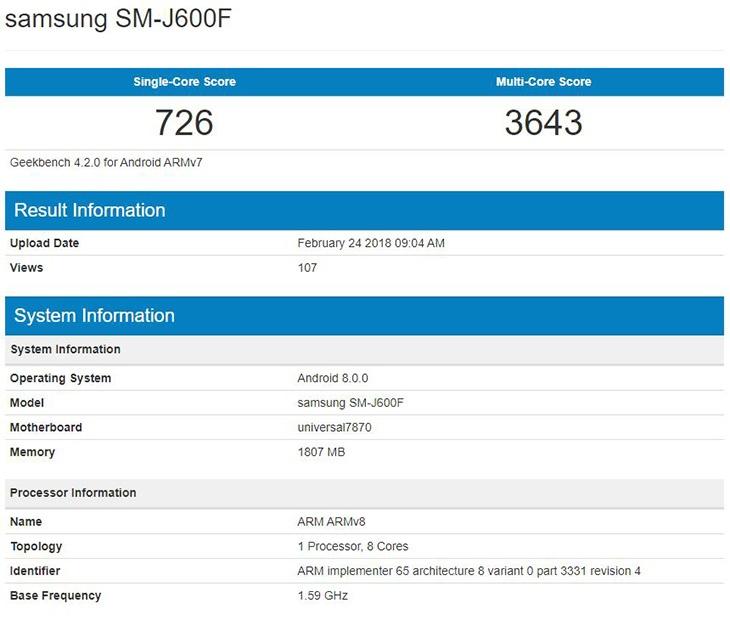Samsung Galaxy J6 засветился в базе данных бенчмарка Geekbench