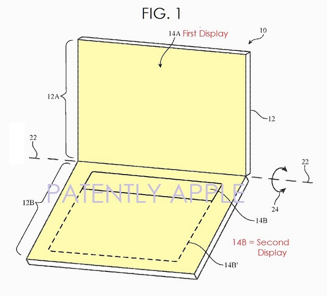 Apple запатентовала ноутбук с двумя экранами OLED, который лишен физической клавиатуры