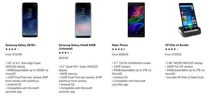 Microsoft Store предлагает больше смартфонов с Android, чем с Windows