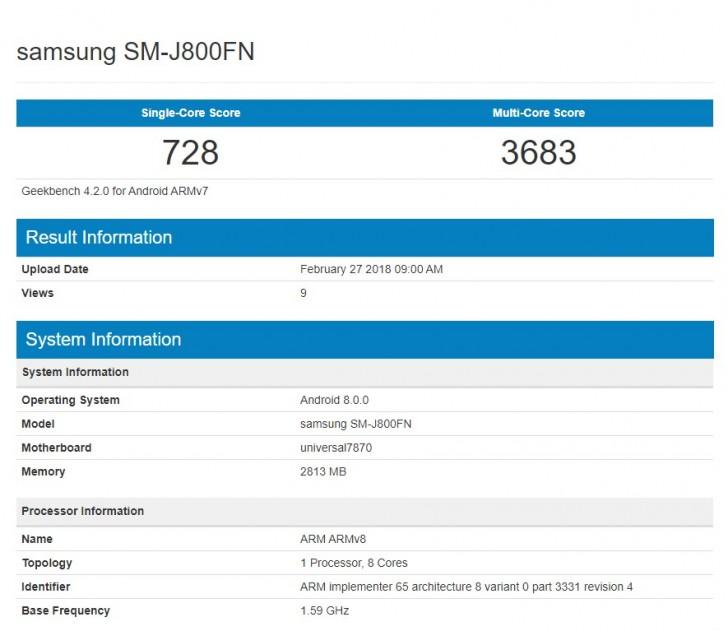 Смартфон Samsung Galaxy J8 (2018) протестирован в Geekbench