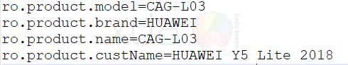 Подробности о Huawei Y5 Lite (2018) почерпнуты из прошивки