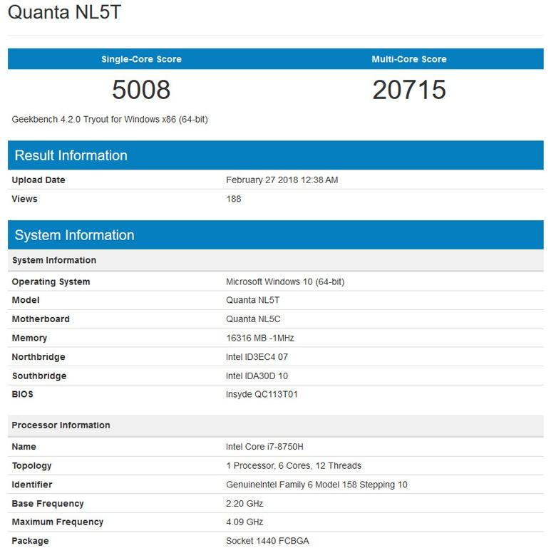 Базовая частота CPU равна 2,2 ГГц, повышенная — 4,1 ГГц