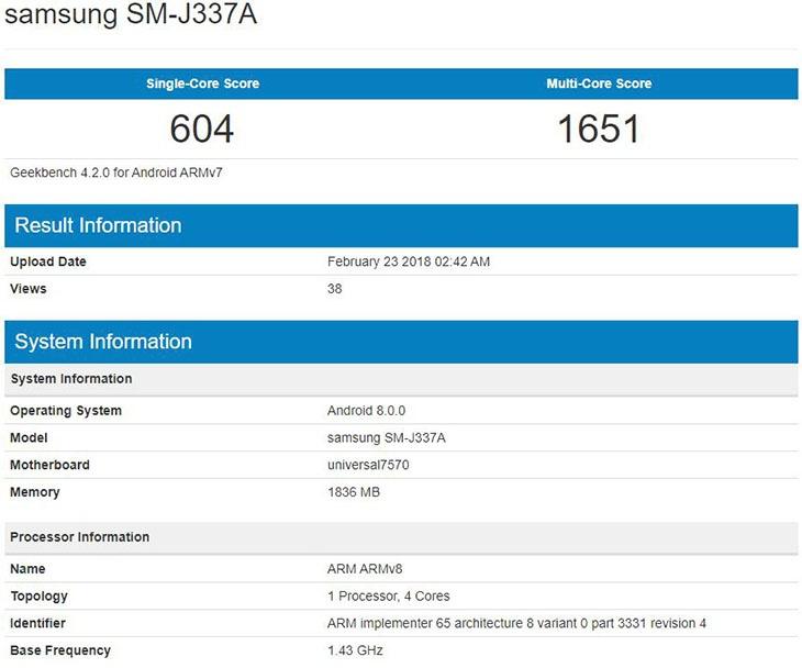 Samsung Galaxy J3 Pro 2018 засветился в бенчмарке Geekbench