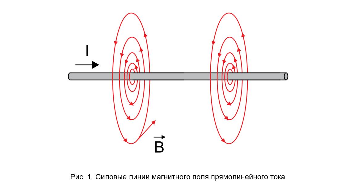 Рис. 1. Силовые линии магнитного поля прямолинейного тока.