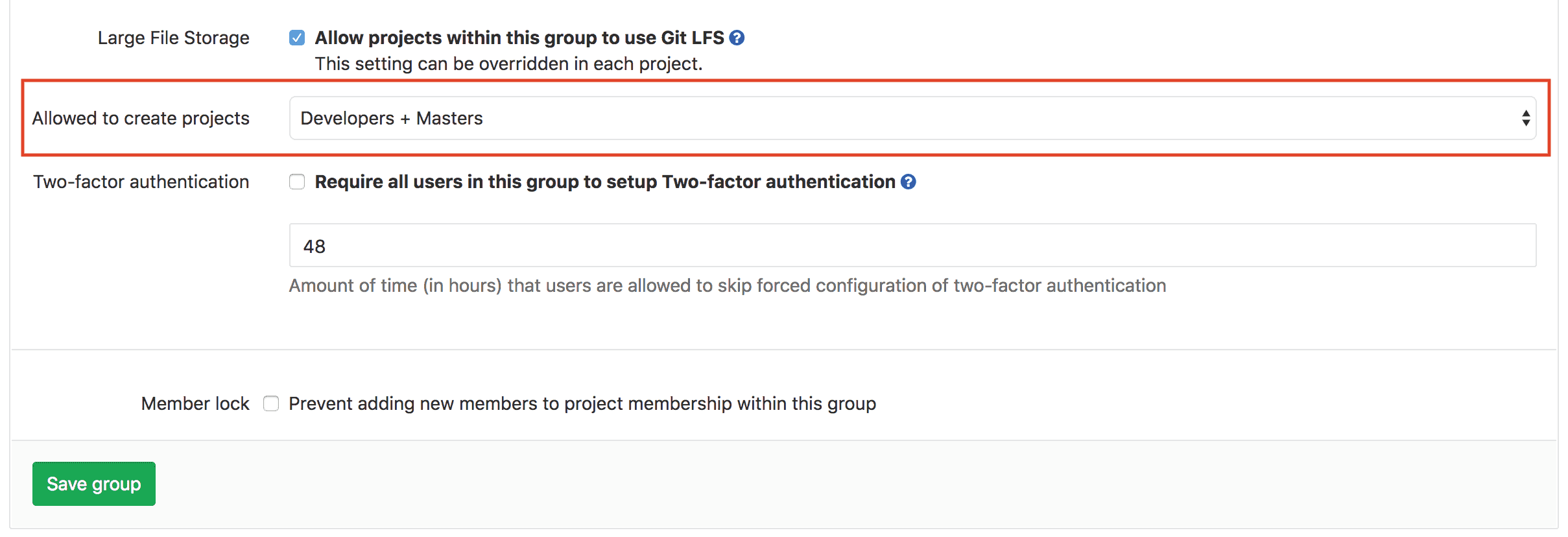 Allow developers to create projects in groups