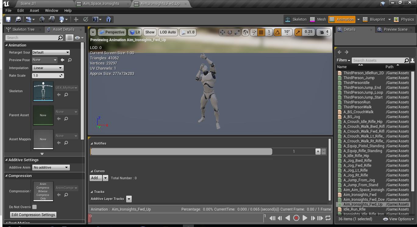 Как создать анимацию прицеливания и как нарезать анимацию в игровом движке Unreal Engine 4 - 2