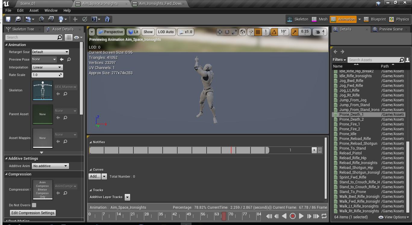 Как создать анимацию прицеливания и как нарезать анимацию в игровом движке Unreal Engine 4 - 1