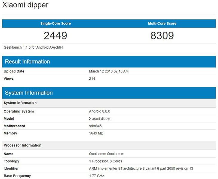 Xiaomi Dipper замечен в базе данных Geekbench
