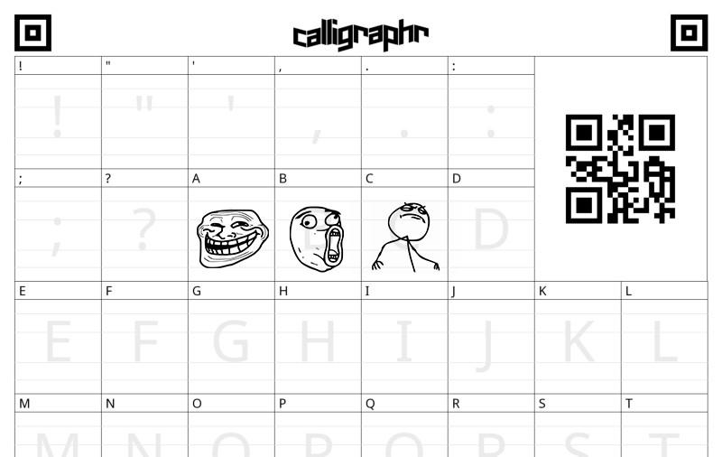 Заполненный шаблон Calligraphr