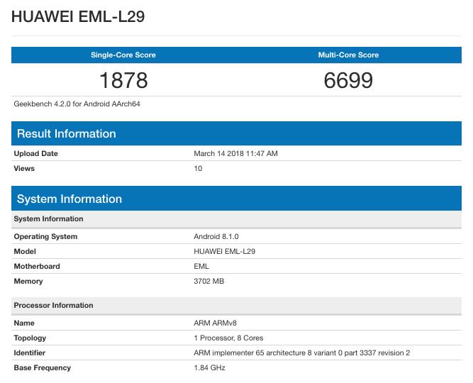 Смартфон Huawei P20 протестирован в Geekbench