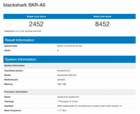 Игровой смартфон Xiaomi Blackshark протестирован в Geekbench