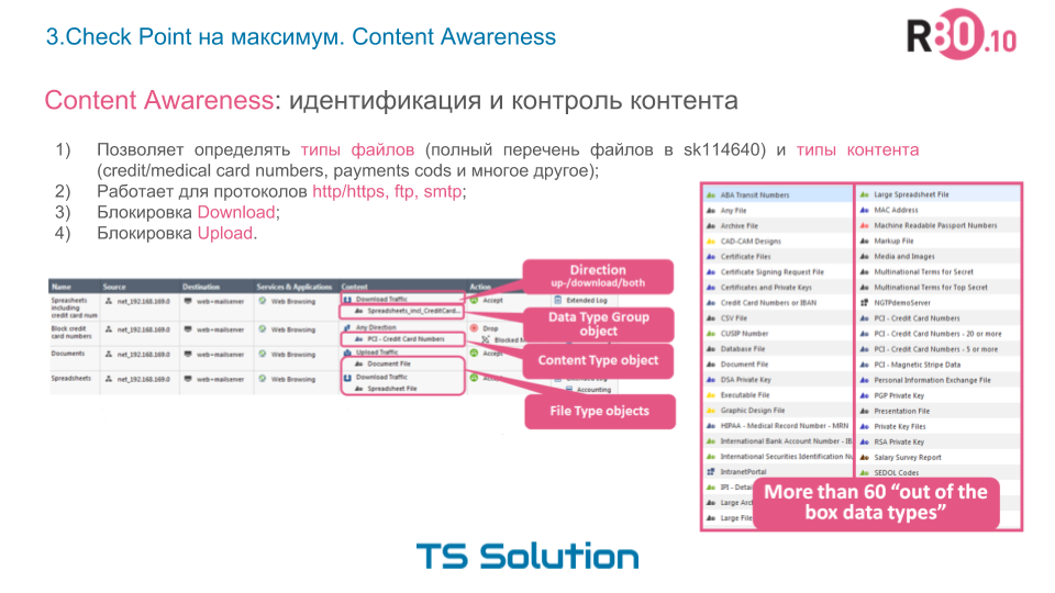 3. Check Point на максимум. Content Awareness - 4