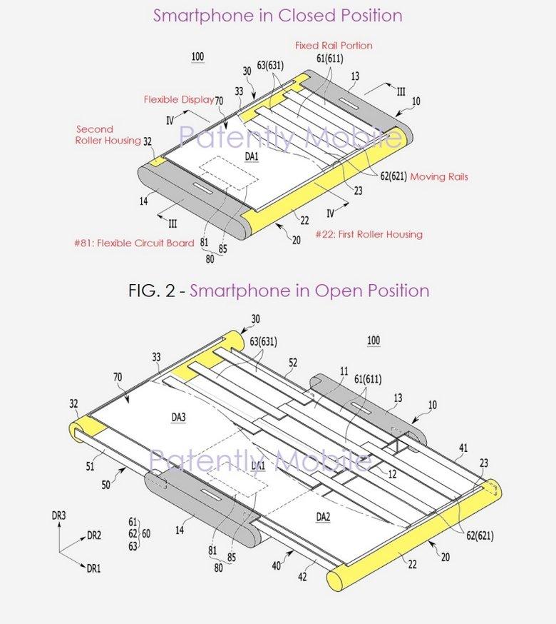Samsung, которая давно подтвердила, что работает над мобильными устройствами со сгибающимися дисплеями, зарегистрировала еще один интересный патент