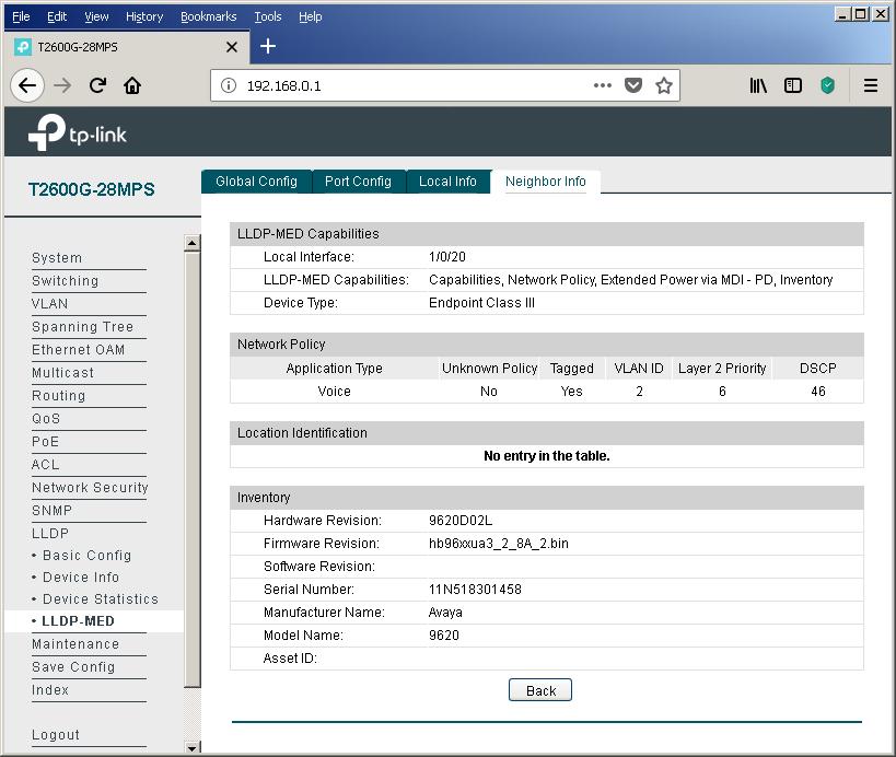TP-Link T2600G-28MPS: работа с PoE, LLDP и Voice VLAN - 18