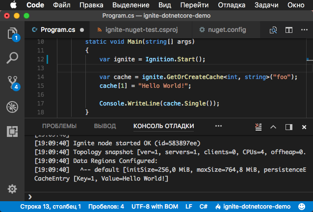 Ignite.NET in Visual Studio Code on macOS