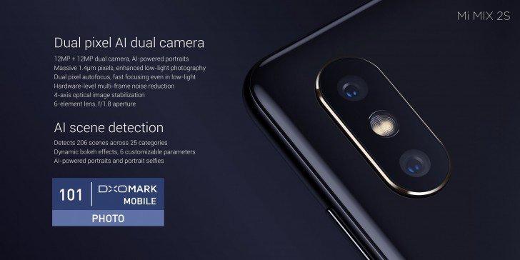 Специалисты DxOMark поставили 101 балл смартфону Xiaomi Mi Mix 2S за качество фото