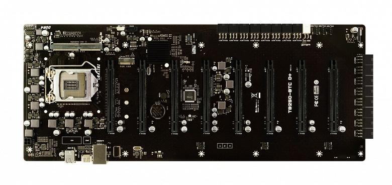Системная плата Biostar TB250-BTC D+ позволяет подключить восемь видеокарт - 1