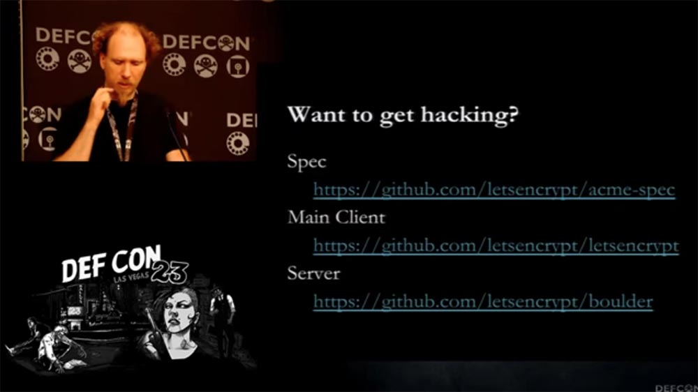 DEFCON 23. «Let'sEncrypt: чеканка бесплатных сертификатов шифрования для Интернет». Ян Жу, Питер Эккерсли, Джеймс Кастен - 9