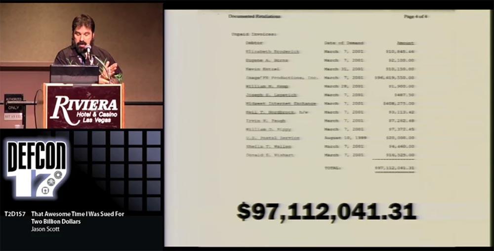 Конференция DEFCON 17. «Это восхитительное время, когда меня обвинили в ущербе на 2 миллиарда долларов». Джейсон Скотт - 8