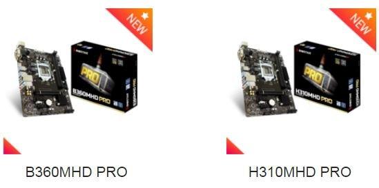 Системные платы Biostar B360MHD PRO и H310MHD PRO относятся к начальному уровню