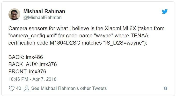 Mishaal Rahman делится подробностями о датчиках камер смартфона Xiaomi Mi 6X