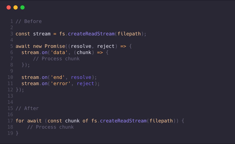 Асинхронные циклы и Stream API в Node.js 10 - 1