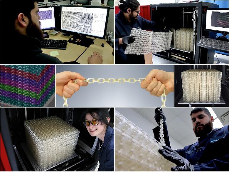 Для демонстрации материала E-RigidForm была изготовлена самая длинная в мире 3D-печатная цепочка