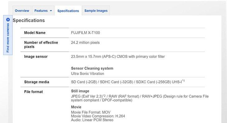 Fujifilm случайно опубликовала характеристики беззеркальной камеры X-T100 до анонса