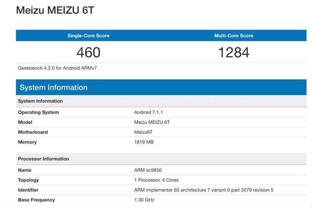 Смартфон Meizu M6T замечен в базе данных бенчмарка Geekbench