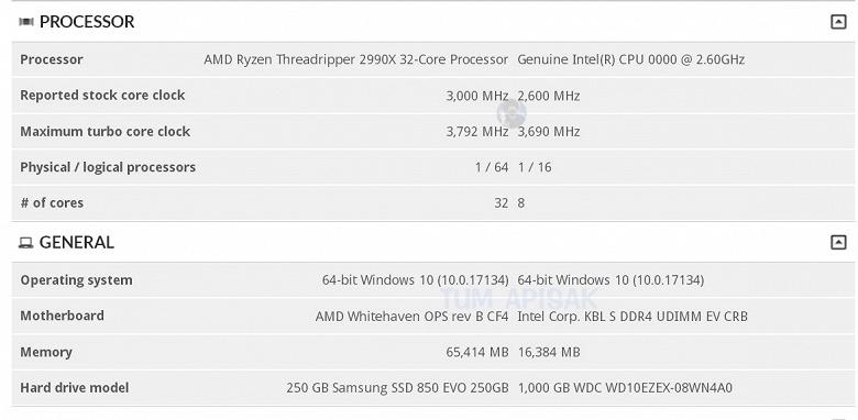 Процессор AMD Ryzen Threadripper 2990X замечен в базе данных 3DMark