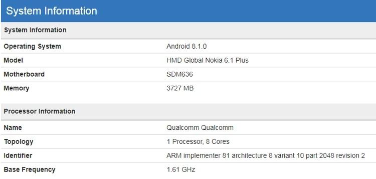 Смартфон Nokia 6.1 Plus показался в бенчмарке