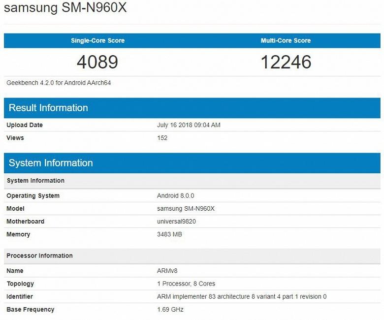 Samsung Galaxy Note 9 установил рекорд производительности в Geekbench