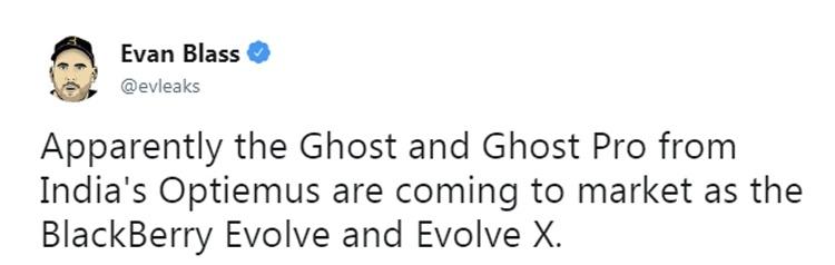 Evolve и Evolve X станут новыми смартфонами BlackBerry