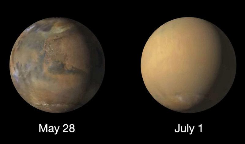 Марс до и во время сильного пылевого шторма: изображения NASA