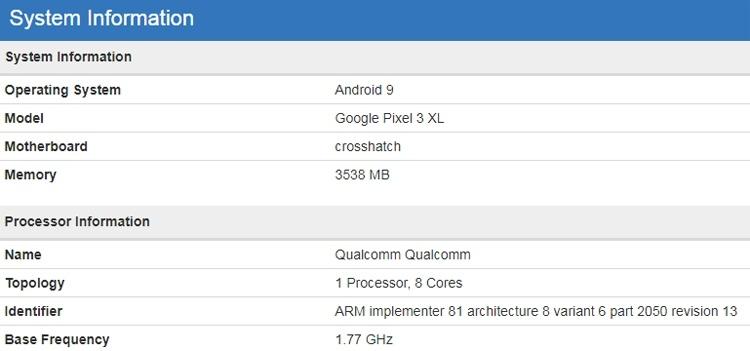Бенчмарк раскрыл ключевые характеристики смартфона Google Pixel 3 XL