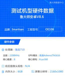 Smartisan Nut Pro 2S засветился в бенчмарке Master Lu