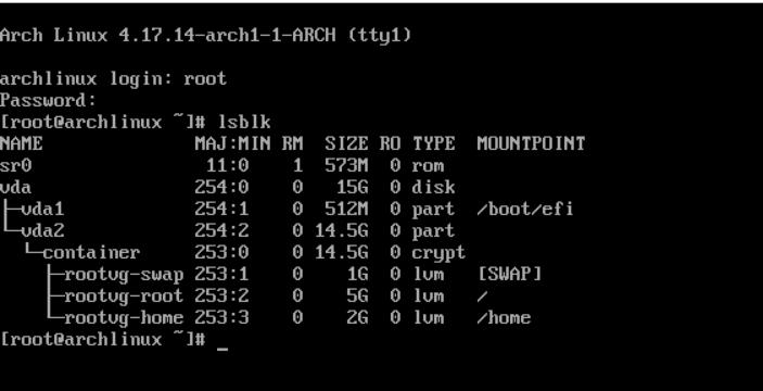 Установка Archlinux c полным шифрованием системы и LVM на LUKS - 7