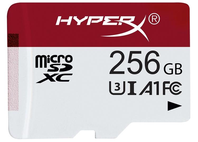 Карты памяти HyperX Gaming формата microSD имеют ёмкость до 256 Гбайт