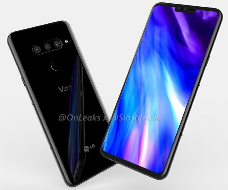 Смартфон LG V40 ThinQ позирует на изображениях