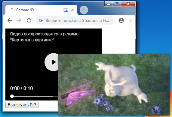 Режим картинка в картинке в Chrome 69 - 1