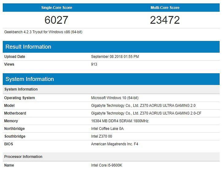Intel Core i5-9600K протестирован в Geekbench